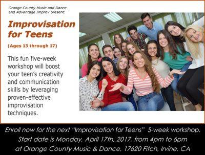 Improv for Teens (ages 13-17) 5-week workshop in Irvine