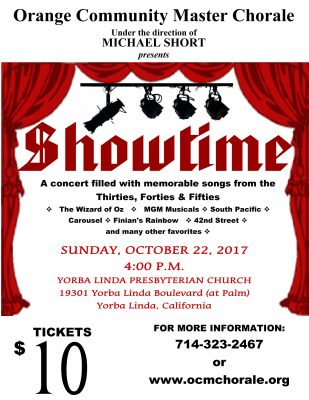 "Orange Community Master Chorale presents ""SHOWTIME..."