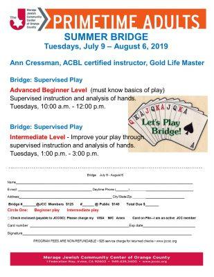 Summer Bridge at the Merage JCC Advanced Beginner ...