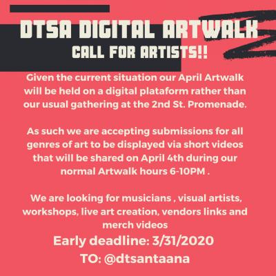 DTSA DIGITAL ARTWALK - Call for Artists!
