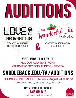 Student Auditions:  Saddleback College Fall 2020
