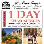 Free Student Voucher - Mission San Juan Capistrano