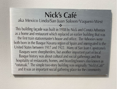 Nick's Cafe Plaque