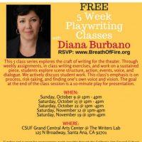 Free 5 Week Playwriting Classes with Diana Burbano