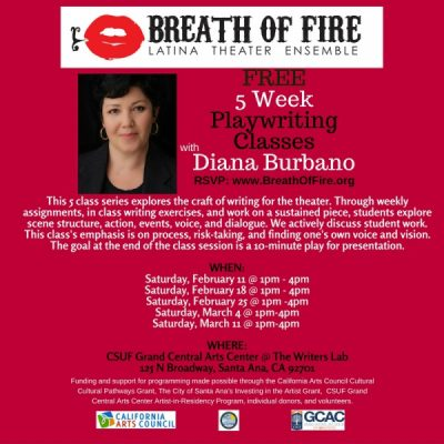 Free 5 Week Playwriting Class Series with Diana Burbano